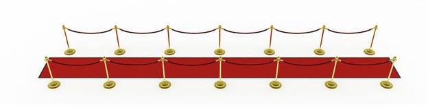 3d: Roter Teppich mit Pfosten für Film-Premiere Lizenzfreie Stockfotografie