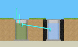 3D round cement treatment system. 3D illustration round cement resident waste water treatment Stock Photo