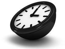 3D Round clock shows three o'clock. 3D Round office clock shows three o'clock isolated on white Royalty Free Stock Images