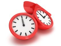 3D Round clocks shows different time Royalty Free Stock Image