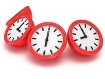 3D Round clocks shows different time. 3D Round office clock shows different time  on white Stock Photography