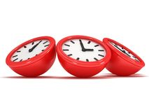 3D Round clocks shows different time. 3D Round office clock shows different time  on white Royalty Free Stock Photo