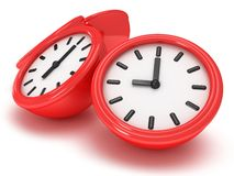 3D Round clocks shows different time. 3D Round office clock shows different time  on white Royalty Free Stock Image