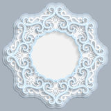 3D round frame for a photo or picture, vignette with ornaments, lace border,  bas-relief ornament,  openwork  pattern, template gr. Eetings, vector Stock Photography