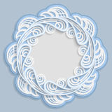3D round frame for a photo or picture, vignette with ornaments, lace border,  bas-relief ornament,  openwork  pattern, template gr. Eetings, vector Royalty Free Stock Photos