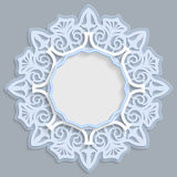 3D round frame for a photo or picture, vignette with ornaments, lace border,  bas-relief ornament,  openwork  pattern, template gr. Eetings, vector Stock Photo