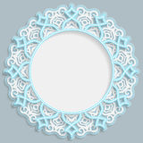 3D round frame for a photo or picture, vignette with ornaments, lace border,  bas-relief ornament,  openwork  pattern, template gr Stock Photography