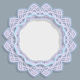 3D round frame for a photo or picture, vignette with ornaments, lace border,  bas-relief ornament,  openwork  pattern, template gr. Eetings, vector Stock Image