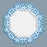 3D round frame for a photo or picture, vignette with ornaments, lace border,  bas-relief ornament,  openwork  pattern, template gr. Eetings, vector Royalty Free Stock Image