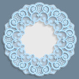 3D round frame for a photo or picture, vignette with ornaments, lace border, bas-relief ornament, openwork pattern, template stock illustration