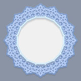 3D round frame for a photo or picture, vignette with ornaments, lace border,  bas-relief. Ornament,  openwork  pattern, template greetings, vector Stock Photos