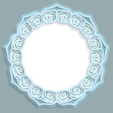 3D round frame, vignette with ornaments, lace frame,  bas-relief ornament,  festive pattern, openwork  pattern, template greetings. Vector Stock Photos