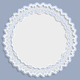 3D round frame, vignette with ornaments, lace frame,  bas-relief ornament,  festive pattern, white pattern, template greetings Royalty Free Stock Photo
