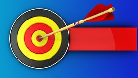 3d round target with arrow hit Royalty Free Stock Image