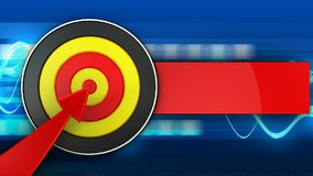 3d round target with red arrow. 3d illustration of round target with red arrow over blue waves background Stock Photography