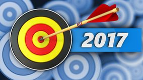 3d round target with 2017 year sign. 3d illustration of round target with 2017 year sign over many targets background Royalty Free Stock Photo