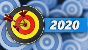 3d round target with 2020 year sign. 3d illustration of round target with 2020 year sign over many targets background Royalty Free Stock Photography
