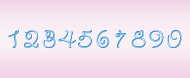 3D Rounded Blue Font. Tube numbers.. bubble typeset.  Typography vector illustration. 3D Rounded Font.  Glossy blue bubble typeset with numbers. Tube Alphabet Stock Photos