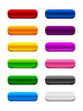3D Rounded Buttons. A set of 3D rectangular buttons with rounded edges in various colors Stock Image
