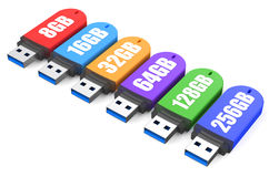 3d Row of color USB flash drives Royalty Free Stock Photo