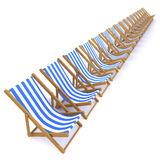 3d Row of deck chairs Royalty Free Stock Images