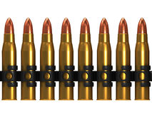 3d Row of machine gun bullets Stock Photos