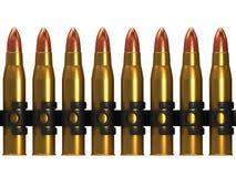 3d Row of machine gun bullets. 3d render of machine gun bullets Stock Photos