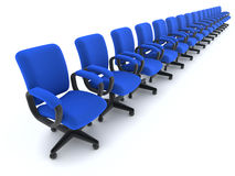 3d Row of office chairs Royalty Free Stock Photography