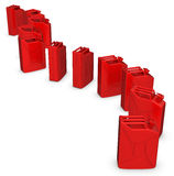 3d row of red  jerry cans. On white background Royalty Free Stock Image