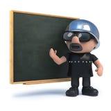 3d rowerzysta uczy przy blackboard Zdjęcia Stock