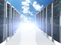 3d rows network servers datacenter on sky cloud background. 3d rendering of rows of network servers machine farm cloud computing hardware on blue sky background Royalty Free Stock Image