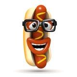 3d Roześmiany hotdog z szkłami ilustracja wektor