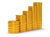 3d rozkład złote monety jako schodki na bielu Obraz Stock
