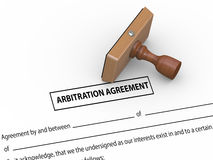 3d rubber stamp arbitration agreement Royalty Free Stock Photos