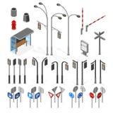 3d rue isométrique, icônes d'objets de vecteur de route réglées Photo libre de droits