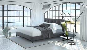 3D ruimte geeft van slaapkamer met overspannen vensters terug Royalty-vrije Stock Fotografie