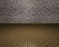 3D ruimte met bruin bakstenen muur en parket Stock Afbeelding