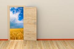 3d ruimte met geopende deur Royalty-vrije Stock Fotografie