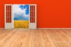 3d ruimte met geopende deur Stock Afbeelding