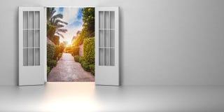3d ruimte met geopende deur Stock Foto's