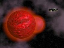 3D ruimteschip en rode planeet - geef terug Royalty-vrije Stock Foto's