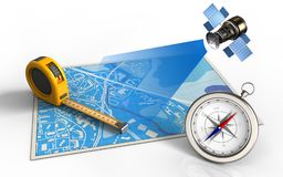 3d ruler. 3d illustration of blue map with ruler and satellite Stock Image