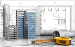 3d of ruler. 3d illustration of city buildings construction with drawings over blueprint background Royalty Free Stock Photos
