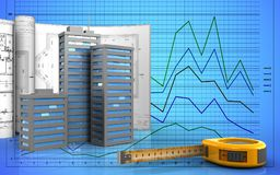 3d of ruler. 3d illustration of city buildings with drawings over graph background Stock Photos