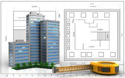 3d of ruler. 3d illustration of living quarter over blueprint background Stock Photography
