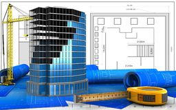 3d of ruler. 3d illustration of office building construction with crane over blueprint background Stock Image