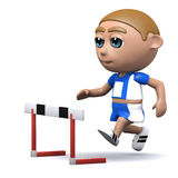 3d Runner approaches the hurdle Royalty Free Stock Photo