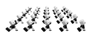3d running business men hurriedly. 3D Square Man Series. Stock Photos