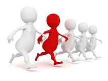 3d running human group with one red individual leader Stock Photos