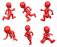 3d running people from red metal. 3d people from red metal runs. 3d illustration Stock Photos